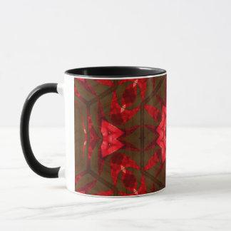 Rotes Glas und Holz Tasse