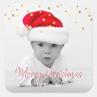 ROTES GoldGlitzerconfetti-frohe Weihnachten | FOTO Quadratischer Aufkleber