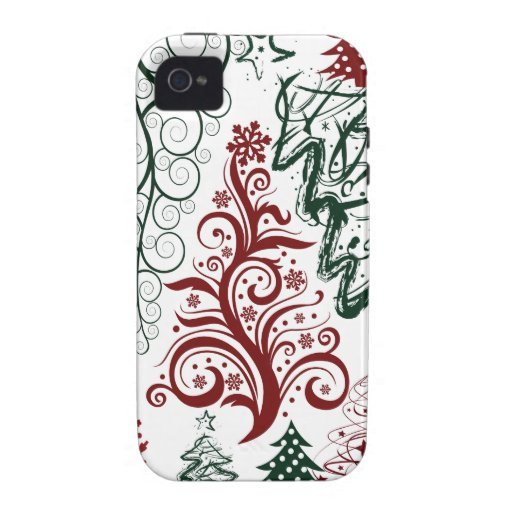 Rotes grünes Feiertags-Weihnachtsbaum-Muster Case-Mate iPhone 4 Cover