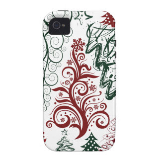 Rotes grünes Feiertags-Weihnachtsbaum-Muster iPhone 4 Cover