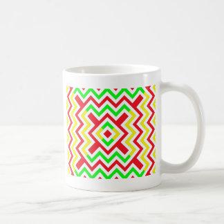 Rotes, grünes und gelbes Zickzack Muster Kaffeetasse