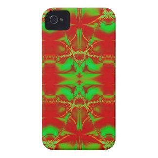 Rotes grünes WeihnachtsFraktal iPhone 4 Case-Mate Hüllen
