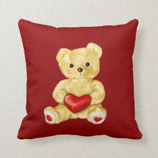 Rotes Herz, das niedlichen Teddy-Bären Hypnotizing Kissen