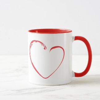 Rotes Herz mit blühen Tasse