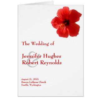 Rotes Hibiskus-Hochzeits-Programm Karte