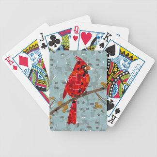 Rotes Kardinals-Mosaik Bicycle Spielkarten