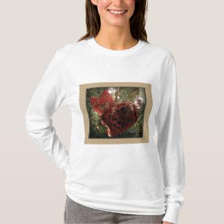 Rotes Katzen-Verzierungs-Kleid T-Shirt