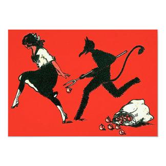 Rotes Krampus, das Frauen-Äpfel jagt 12,7 X 17,8 Cm Einladungskarte
