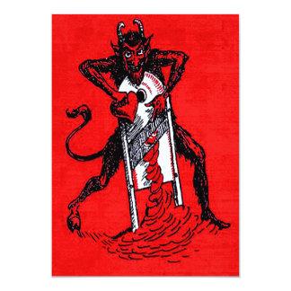 Rotes Krampus, das Herz schneidet 12,7 X 17,8 Cm Einladungskarte