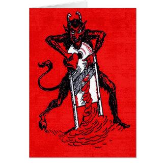Rotes Krampus, das Herz schneidet Grußkarte