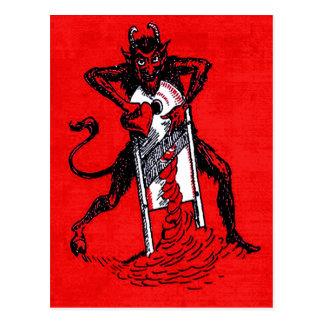 Rotes Krampus, das Herz schneidet Postkarten
