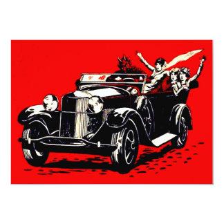 Rotes Krampus Entführungs-Frauen-Auto 12,7 X 17,8 Cm Einladungskarte