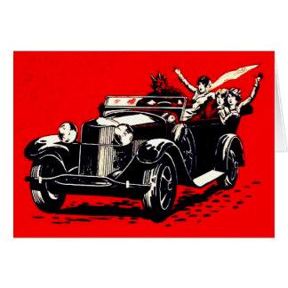 Rotes Krampus Entführungs-Frauen-Auto Grußkarte