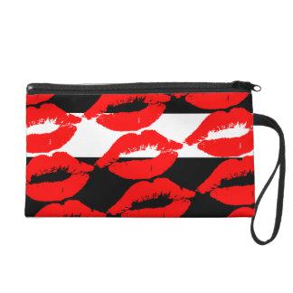 Rotes LippenLiebe-Kuss-Muster-Schwarz-weiße Wristlet