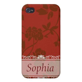 Rotes mit Blumenkundengerechtes iPhone 4 Hülle