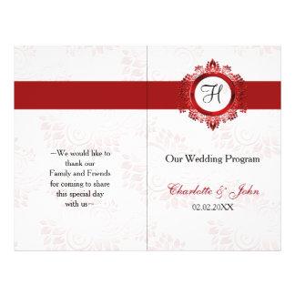 rotes Monogramm gefaltetes Wedding Programm Flyer