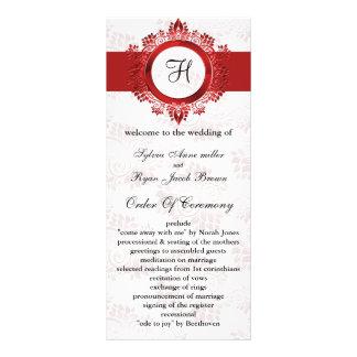 rotes Monogramm Hochzeitsprogramm Vollfarbige Werbekarte