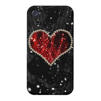 Rotes Perlen-Herz Schutzhülle Fürs iPhone 4