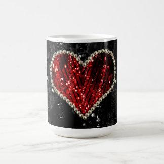 Rotes Perlen-Herz Tasse