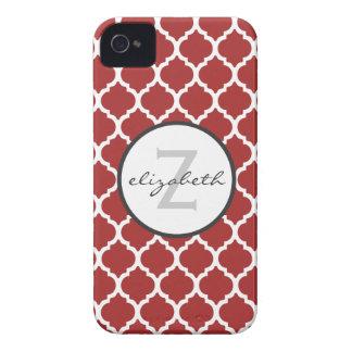 Rotes Quatrefoil Monogramm Case-Mate iPhone 4 Hüllen