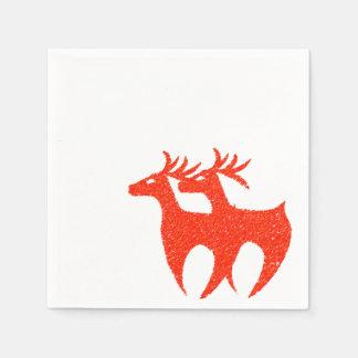Rotes Renservietten Weihnachten Papierservietten