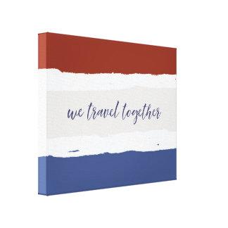 Rotes Sahneblau reisen wir zusammen Gespannter Galeriedruck