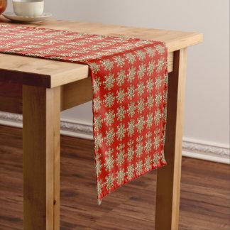 Rotes Schneeflocke-Muster Kurzer Tischläufer