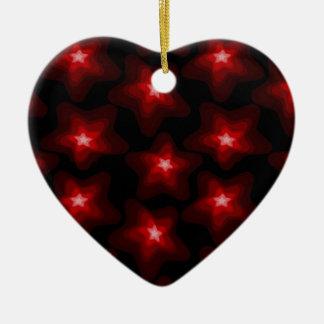 Rotes Schwarzes 4 des Sternes Keramik Herz-Ornament