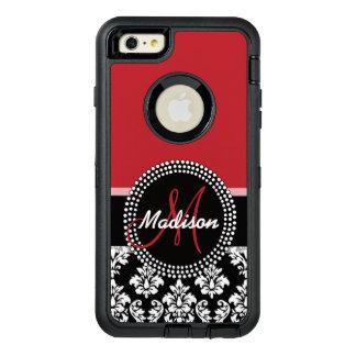 Rotes schwarzes Damast-Muster, Ihr Namensmonogramm OtterBox iPhone 6/6s Plus Hülle