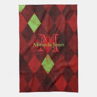 Rotes schwarzes Golddiamant-Monogramm Handtuch