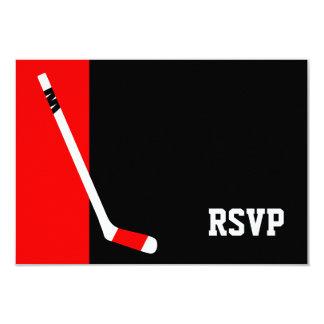 Rotes schwarzes Hockey-Bar Mitzvah UAWG 8,9 X 12,7 Cm Einladungskarte