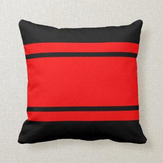 Rotes schwarzes Rennen Stripes Kissen