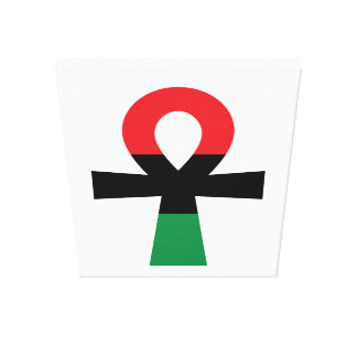 Rotes, schwarzes u. grünes Ankh Gespannter Galeriedruck