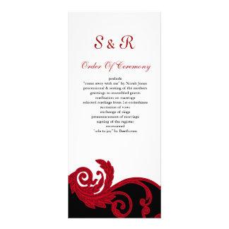rotes, Schwarzweiss-Hochzeitsprogramm Karten Druck