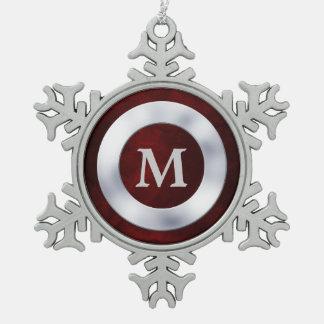 Rotes silbernes Monogramm-Weihnachten Schneeflocken Zinn-Ornament