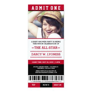 Rotes Sport-Karten-Baby-Duschen-Party lädt ein 10,2 X 23,5 Cm Einladungskarte