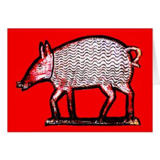 Rotes u. schwarzes Schwein - Grußkarte
