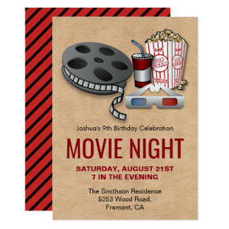 Rotes und beige Film-Nachtgeburtstags-Party laden Karte