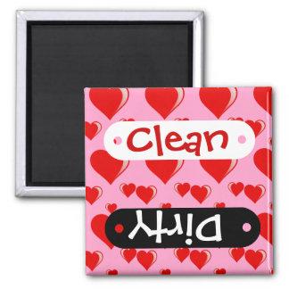 Rotes und rosa Herz-Valentinstag-Muster Quadratischer Magnet
