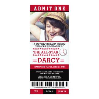 Rotes und schwarzes Baseball-Baby-Duschen-Party 10,2 X 23,5 Cm Einladungskarte