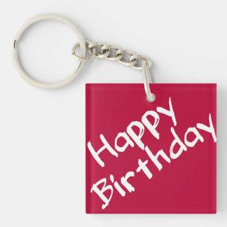 Rotes und weißes alles Gute zum Geburtstag Schlüsselanhänger