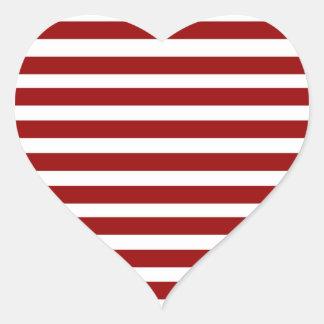 Rotes und weißes horizontales Streifen-Muster Herz-Aufkleber