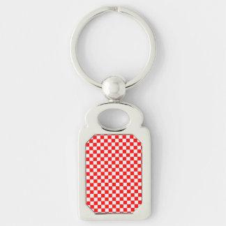 Rotes und weißes klassisches Schachbrett durch Schlüsselanhänger