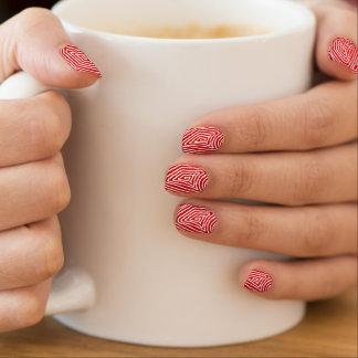 Rotes und weißes Scribbleprint Minx Nagelkunst