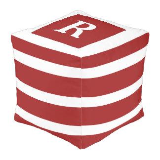 Rotes und weißes Streifen-Monogramm Hocker