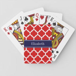 Rotes weißes Marine-Blau-Namen-Monogramm des Spielkarten