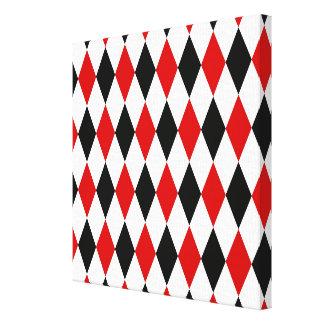 Rotes weißes schwarzes Harlekin-Diamant-Muster Galerie Faltleinwand