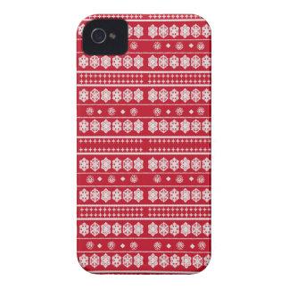 Rotes weißes Weihnachtsschneeflockemuster iPhone 4 Case-Mate Hülle