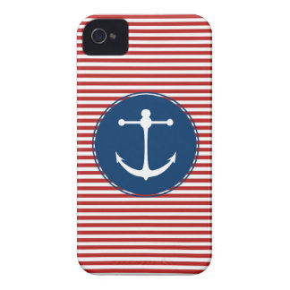 Rotes Yachtclub-Muster iPhone 4 Case-Mate Hülle