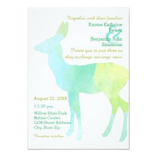 Rotwild-Aquarell - Hochzeits-Einladung Karte